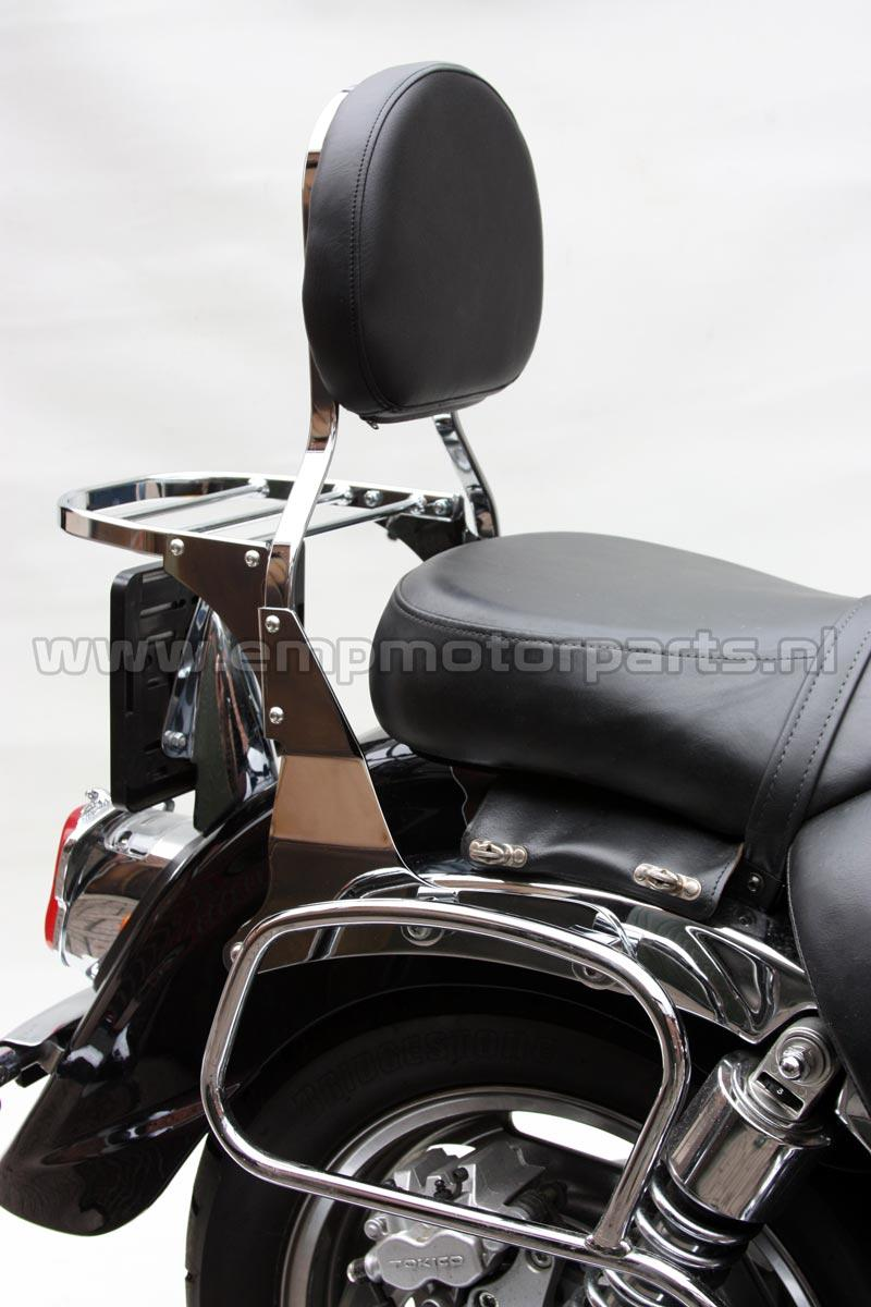 Luggage  carrier  de Luxe (high modell) High modell carrier (+37 mm. higher than part. nr.12 01 3020) and suitable for engines with an high placed license plate. Fits at Honda VT 750 DC, Honda CA 125/CMX 250 (With a better view of the rear light), Kawasaki VN 1600 Classic Tourer etc. The carrier fits all models EMP sissy bars, luggage carrier sets and handgrip bar sets with the exception of sissy bar Basic and Basic Plus. (2)