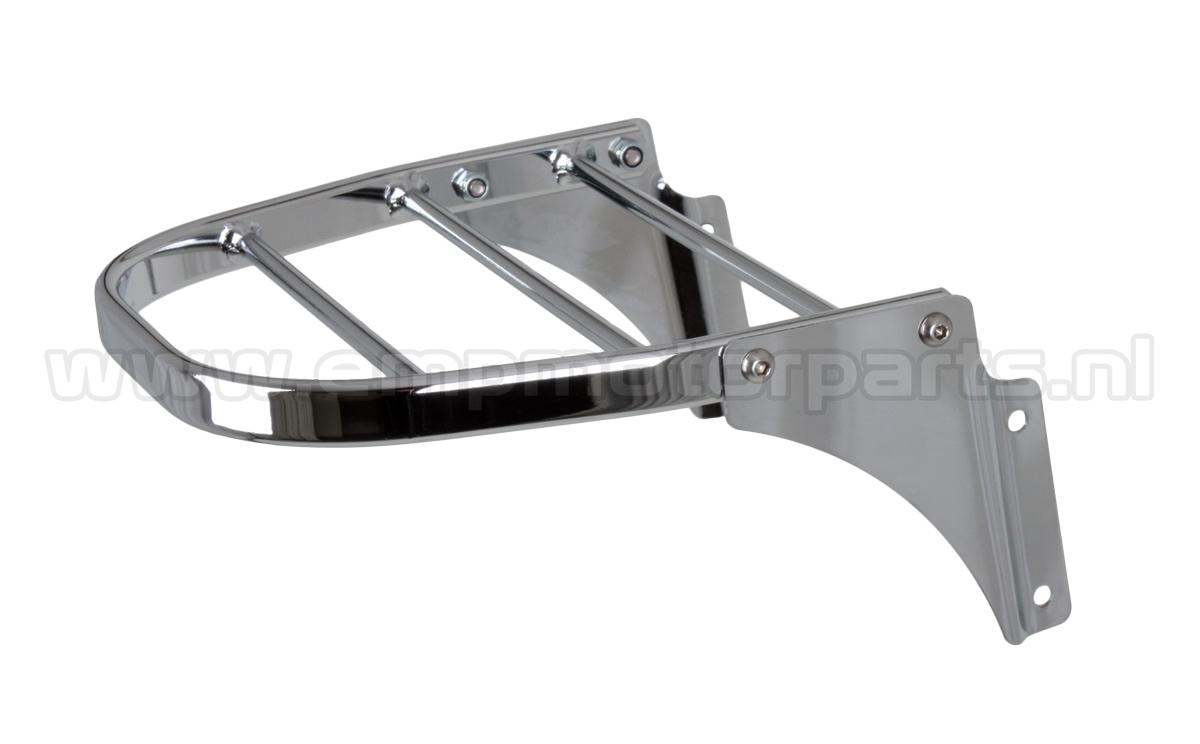 Luggage  carrier  de Luxe (high modell) High modell carrier (+37 mm. higher than part. nr.12 01 3020) and suitable for engines with an high placed license plate. Fits at Honda VT 750 DC, Honda CA 125/CMX 250 (With a better view of the rear light), Kawasaki VN 1600 Classic Tourer etc. The carrier fits all models EMP sissy bars, luggage carrier sets and handgrip bar sets with the exception of sissy bar Basic and Basic Plus. (1)