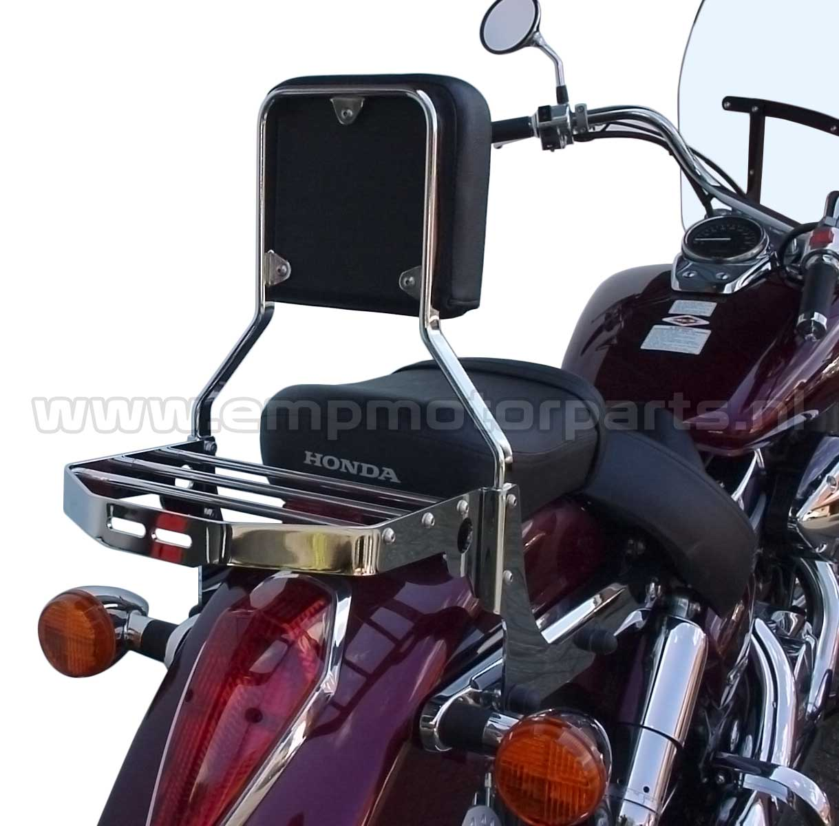 Bagagedrager Double Notch The carrier fits all models EMP sissy bars, luggage carrier sets and handgrip bar sets with the exception of sissy bar Basic and Basic Plus. (2)